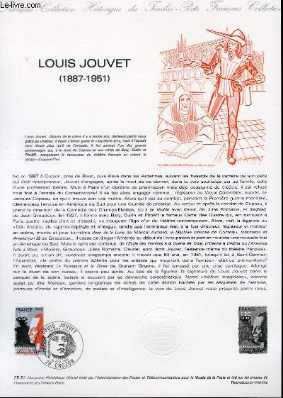 DOCUMENT PHILATELIQUE OFFICIEL N°25-81 - LOUIS JOUVET 1887-1951 (N°2149 YVERT ET TELLIER)
