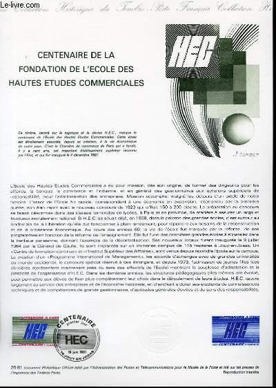DOCUMENT PHILATELIQUE OFFICIEL N°26-81 - CENTENAIRE DE LA FONDATION DE L'ECOLE DES HAUTES ETUDES COMMERCIALES (N°214 YVERT ET TELLIER)