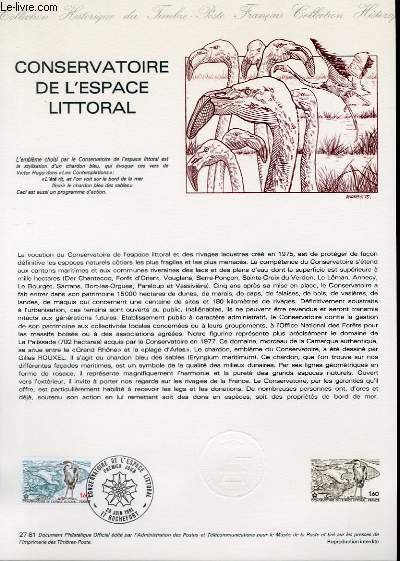 DOCUMENT PHILATELIQUE OFFICIEL N�27-81 - CONSERVATOIRE DE L'ESPACE LITTORAL (N�2146 YVERT ET TELLIER)