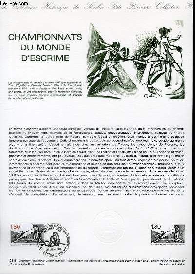 DOCUMENT PHILATELIQUE OFFICIEL N°28-81 - CHAMPIONNAT DU MONDE D'ESCRIME (N°2147 YVERT ET TELLIER)