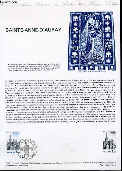 DOCUMENT PHILATELIQUE OFFICIEL N°29-81 - BASILIQUE SAINTE ANNE D'AURAY (N°2134 YVERT ET TELLIER)