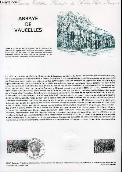 DOCUMENT PHILATELIQUE OFFICIEL N�33-81 - ABBAYE DE VAUCELLES (N�2160 YVERT ET TELLIER)