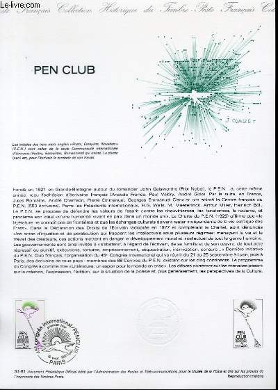 DOCUMENT PHILATELIQUE OFFICIEL N°34-81 - PEN CLUB (N°2164 YVERT ET TELLIER)
