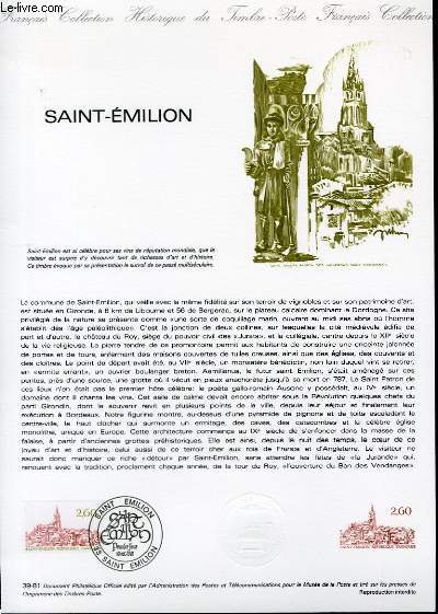 DOCUMENT PHILATELIQUE OFFICIEL N°39-81 - SAINT-EMILION  (N°2162 YVERT ET TELLIER)