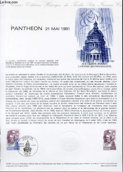 DOCUMENT PHILATELIQUE OFFICIEL N°42-81 - PANTHEON 21 MAI 1981 (N°2172 YVERT ET TELLIER)