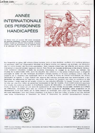 DOCUMENT PHILATELIQUE OFFICIEL N�43-81 - ANNEE INTERNATIONALE DES PERSONNES HANDICAPEES (N�2173 YVERT ET TELLIER)