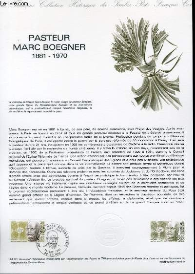 DOCUMENT PHILATELIQUE OFFICIEL N°44-81 - PASTEUR MARC BOEGNER 1881 - 1971 (N°2153 YVERT ET TELLIER)