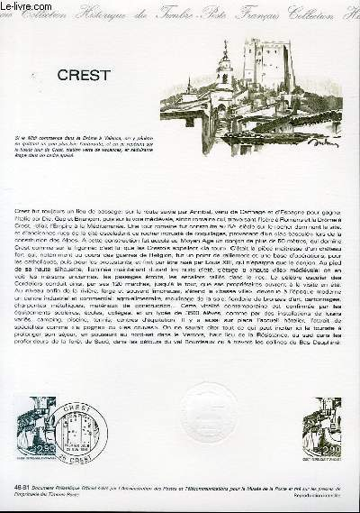 DOCUMENT PHILATELIQUE OFFICIEL N°46-81 - CREST (N°2163 YVERT ET TELLIER)