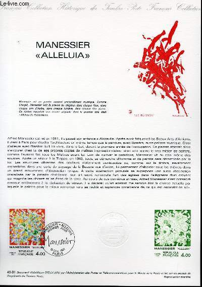 DOCUMENT PHILATELIQUE OFFICIEL N°49-81 - MANESSIER ALLELUIA (N°2169 YVERT ET TELLIER)