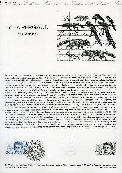 DOCUMENT PHILATELIQUE OFFICIEL N�04-82 - LOUIS PERGAUD 1882-1915 (N�2227 YVERT ET TELLIER)