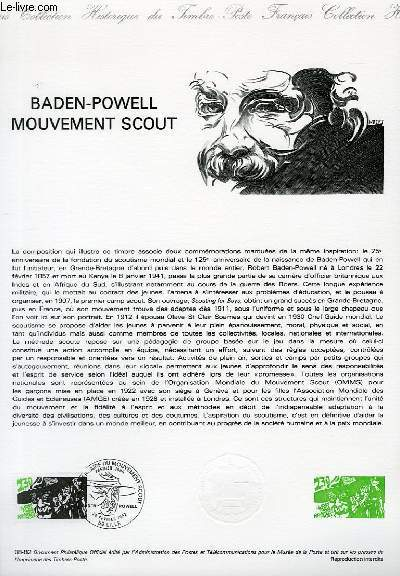 DOCUMENT PHILATELIQUE OFFICIEL N°08-82 - BADEN-POWELL MOUVEMENT SCOUT (N°2201 YVERT ET TELLIER)