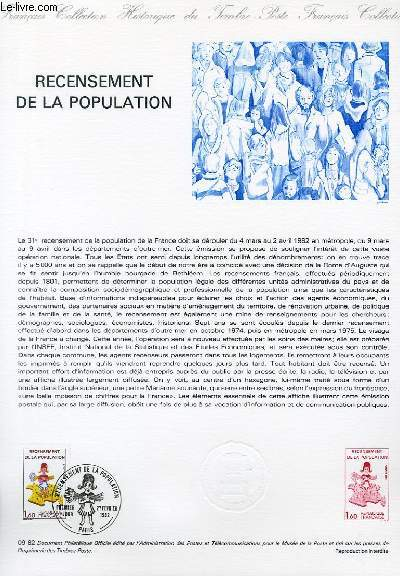 DOCUMENT PHILATELIQUE OFFICIEL N°09-82 - RECENSEMENT DE LA POPULATION (N°2202 YVERT ET TELLIER)