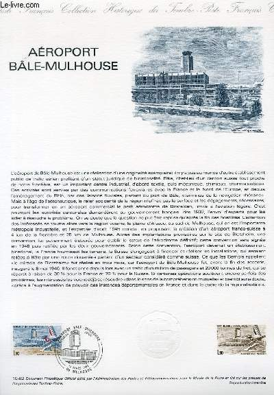 DOCUMENT PHILATELIQUE OFFICIEL N°10-82 - AEROPORT BALE-MULHOUSE (N°2203 YVERT ET TELLIER)