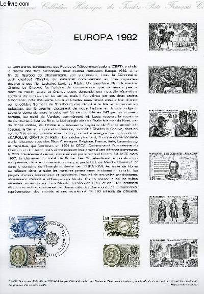 DOCUMENT PHILATELIQUE OFFICIEL N°14-82 - EUROPA 1982 : TRAITE DE VERDUN TRAITE DE ROME (N°2207-08 YVERT ET TELLIER)