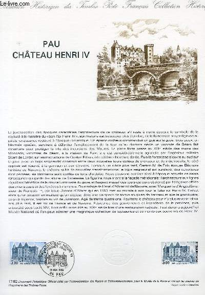 DOCUMENT PHILATELIQUE OFFICIEL N°17-82 - PAU CHATEAU HENRI IV (N°2195 YVERT ET TELLIER)