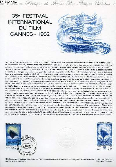 DOCUMENT PHILATELIQUE OFFICIEL N°18-82 - 35° FESTIVAL INTERNATIONAL DU FILM CANNES 1982 (N°2212 YVERT ET TELLIER)
