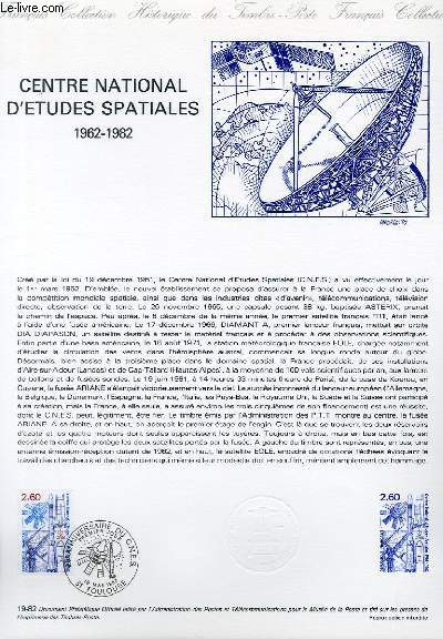 DOCUMENT PHILATELIQUE OFFICIEL N°19-82 - CENTRE NATIONAL D'ETUDES SPATIALES 1962-1982 C.N.E.S. (N°2213 YVERT ET TELLIER)