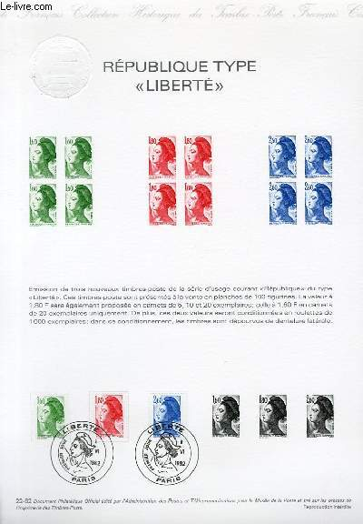 DOCUMENT PHILATELIQUE OFFICIEL N°22-82 - REPUBLIQUE TYPE