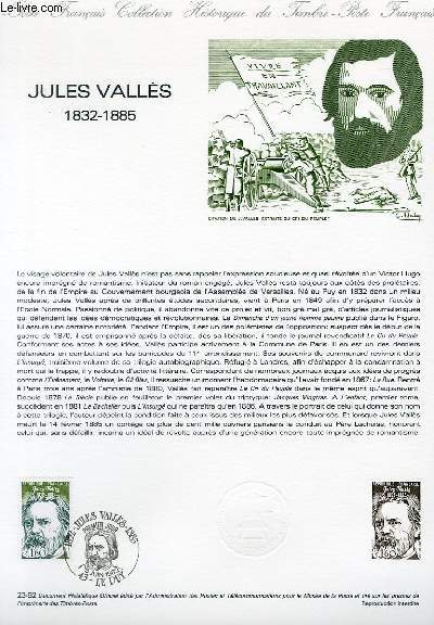 DOCUMENT PHILATELIQUE OFFICIEL N�23-82 - JULES VALLES 1832-1885 (N�2215 YVERT ET TELLIER)