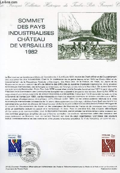 DOCUMENT PHILATELIQUE OFFICIEL N°24-82 - SOMMET DES PAYS INDUSTRIALISES CHATEAU DE VERSAILLES 1982 (N°2214 YVERT ET TELLIER)