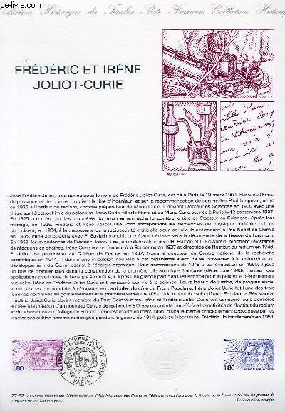 DOCUMENT PHILATELIQUE OFFICIEL N°27-82 - FREDERIC ET IRENE JOLIOT-CURIE ( N°2218 YVERT ET TELLIER)