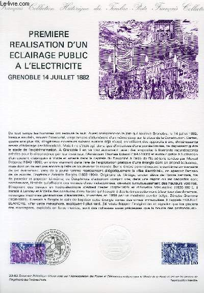 DOCUMENT PHILATELIQUE OFFICIEL N°29-82 - PREMIERE REALISATION D'UN ECLAIRAGE PUBLIC A L'ELECTRICITE GRENOBLE 14 JUILLET 1882 (N°2224 YVERT ET TELLIER)