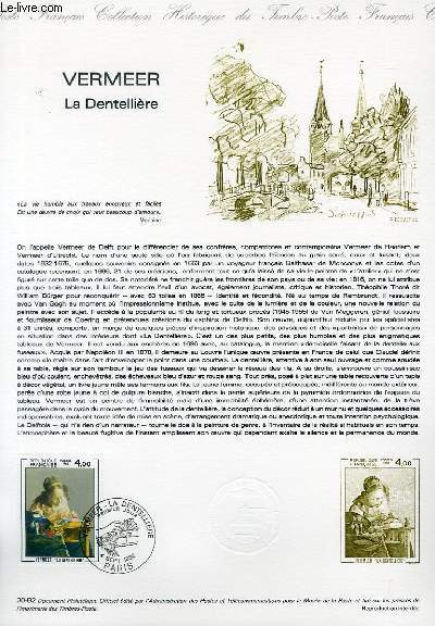 DOCUMENT PHILATELIQUE OFFICIEL N�30-82 - VERMEER LA DENTELLIERE (N�2231 YVERT ET TELLIER)