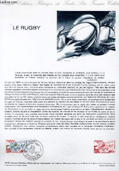 DOCUMENT PHILATELIQUE OFFICIEL N°35-82 - LE RUGBY (N°2236 YVERT ET TELLIER)