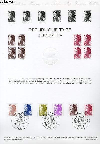 DOCUMENT PHILATELIQUE OFFICIEL N°39-82 - REPUBLIQUE TYPE