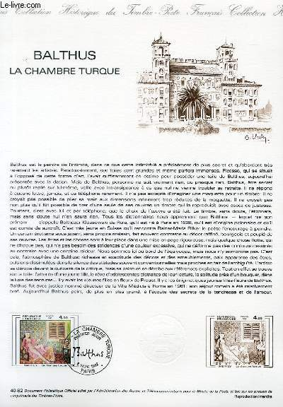 DOCUMENT PHILATELIQUE OFFICIEL N�40-82 - BALTHUS LA CHAMBRE TURQUE (N�2245 YVERT ET TELLIER)