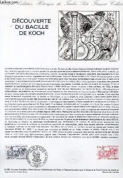 DOCUMENT PHILATELIQUE OFFICIEL N�41-82 - DECOUVERTE DU BACILLE DE KOCH (N�2246 YVERT ET TELLIER)