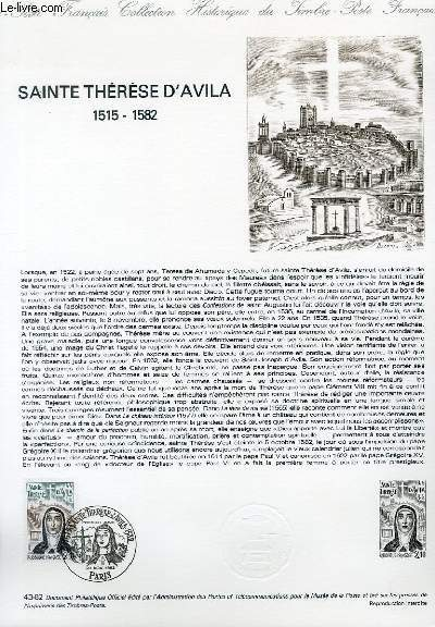 DOCUMENT PHILATELIQUE OFFICIEL N°43-82 - SAINTE THERESE D'AVILA 1515-1582 (N°2249 YVERT ET TELLIER)
