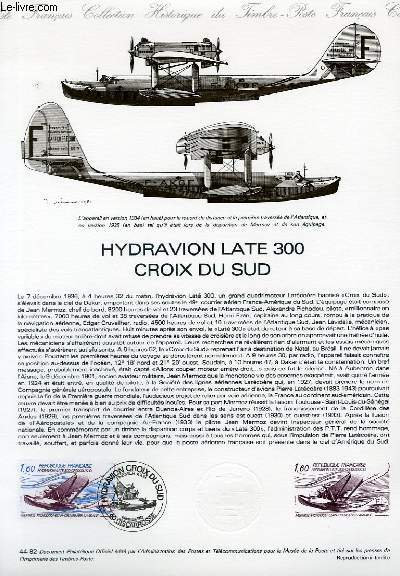 DOCUMENT PHILATELIQUE OFFICIEL N�44-82 - HYDRAVION LATE 300 CROIX DU SUD (N�AV.56 YVERT ET TELLIER)