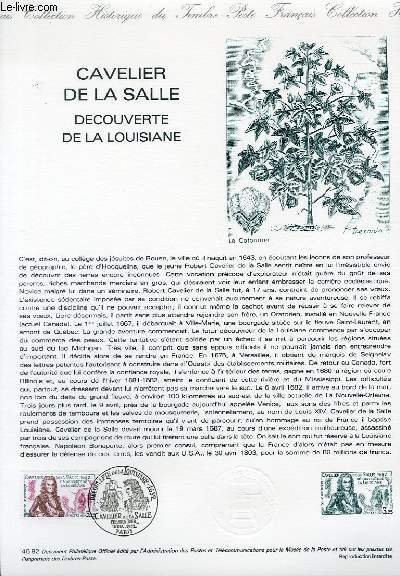 DOCUMENT PHILATELIQUE OFFICIEL N°46-85 - CAVELIER DE SALLE - DECOUVERTE DE LA LOUISIANE (N°2250 YVERT ET TELLIER)