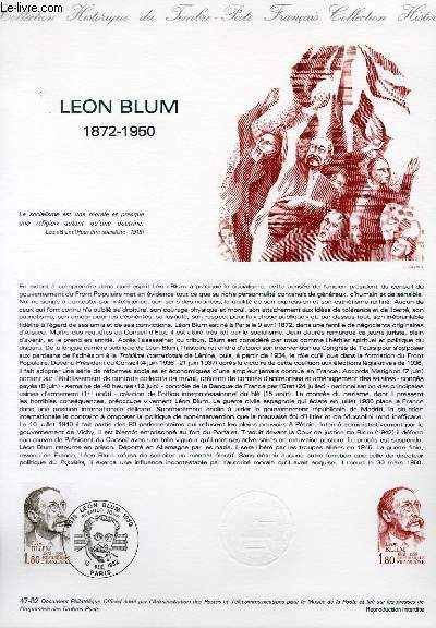 DOCUMENT PHILATELIQUE OFFICIEL N°47-82 - LEON BLUM 1872-1950 (N°2251 YVERT ET TELLIER)