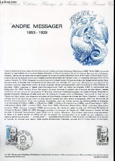 DOCUMENT PHILATELIQUE OFFICIEL N�A1 83 102 - ANDRE MESSAGER 1853 - 1929 (N�2279 YVERT ET TELLIER)