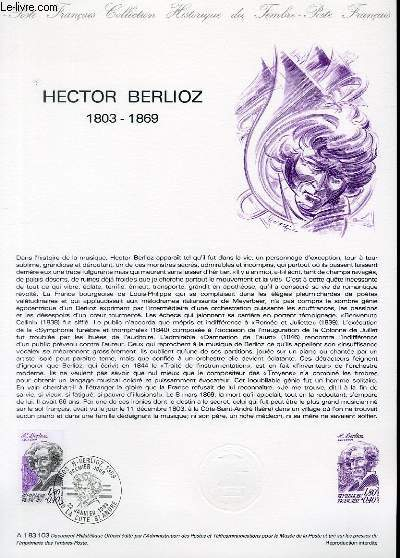 DOCUMENT PHILATELIQUE OFFICIEL N�A1 83 103 - HECTOR BERLIOZ 1803-1869 (N�2281 YVERT ET TELLIER)