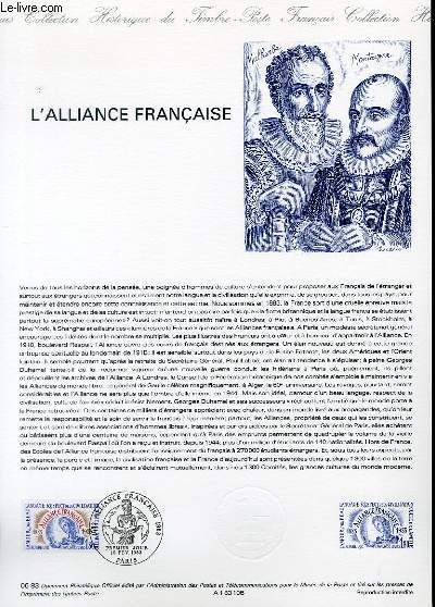 DOCUMENT PHILATELIQUE OFFICIEL N�06-83 - L'ALLIANCE FRANCAISE (N�2257 YVERT ET TELLIER)