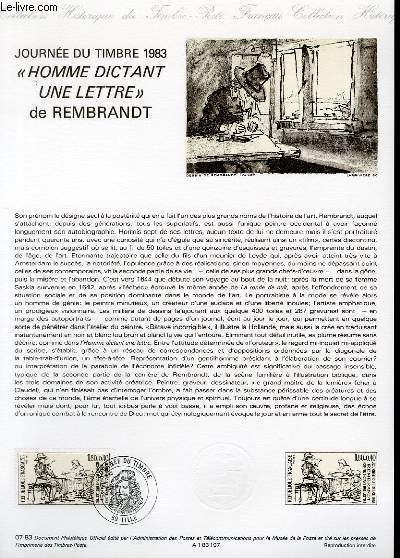 DOCUMENT PHILATELIQUE OFFICIEL N°07-83 - JOURNEE DU TIMBRE 1983