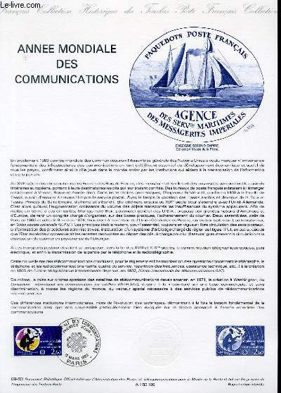 DOCUMENT PHILATELIQUE OFFICIEL N�09-83 - ANNEE MONDIALE DES COMMUNICATIONS (N�2260 YVERT ET TELLIER)