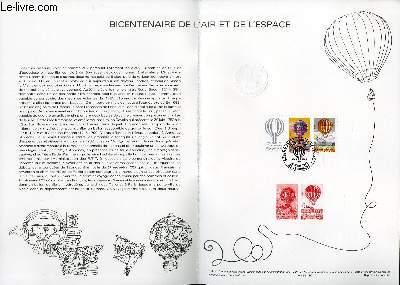 DOCUMENT PHILATELIQUE OFFICIEL N�10-83 - BICENTENAIRE DE L'AIR ET DE L'ESPACE (N�2261-62 YVERT ET TELLIER)