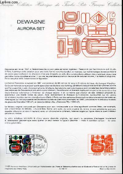 DOCUMENT PHILATELIQUE OFFICIEL N°11-83 - DEWASNE AURORA-SET (N°226 YVERT ET TELLIER)