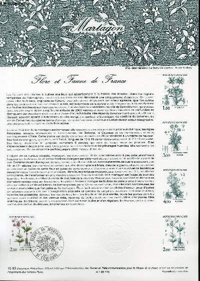 DOCUMENT PHILATELIQUE OFFICIEL N�15-83 FLORE ET FAUNE DE FRANCE - MARTAGON (N�2267 YVERT ET TELLIER)