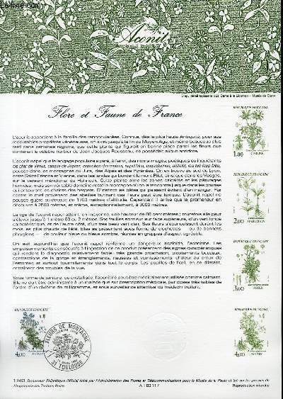 DOCUMENT PHILATELIQUE OFFICIEL N°17-83 - FLORE ET FAUNE DE FRANCE - ACONIT (N°2269 YVERT ET TELLIER)