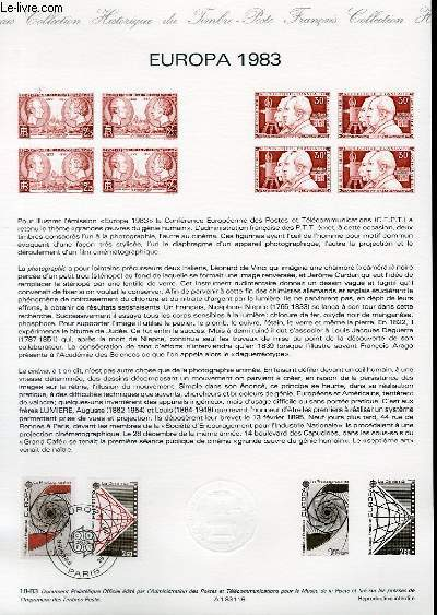 DOCUMENT PHILATELIQUE OFFICIEL N°18-83 - EUROPA 1983 - LE CINEMA - LA PHOTOGRAPHIE (N°2270-71 YVERT ET TELLIER)