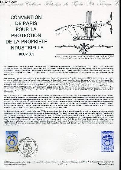 DOCUMENT PHILATELIQUE OFFICIEL N°20-83 - CONVENTION DE PARIS POUR LA PROTECTION DE LA PROPRIETE INDUSTRIELLE 1883-1983 (N°2272 YVERT ET TELLIER)