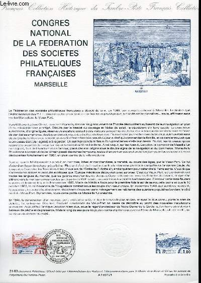 DOCUMENT PHILATELIQUE OFFICIEL N°21-83 - CONGRES NATIONAL DE LA FEDERATION DES SOCIETES PHILATELIQUES FRANCAISES - MARSEILLE (N°2273 YVERT ET TELLIER)