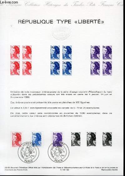 DOCUMENT PHILATELIQUE OFFICIEL N°22-83 - REPUBLIQUE TYPE