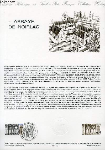 DOCUMENT PHILATELIQUE OFFICIEL N°27-83 - ABBAYE DE NOIRLAC (N°2255 YVERT ET TELLIER)