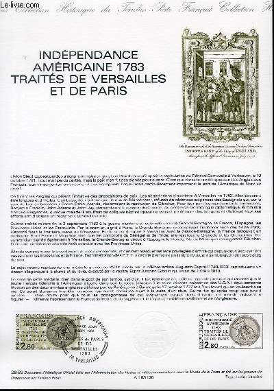 DOCUMENT PHILATELIQUE OFFICIEL N°28-83 - INDEPENDANCE AMERICAINE 1783 TRAITES DE VERSAILLES ET DE PARIS (N°2285 YVERT ET TELLIER)